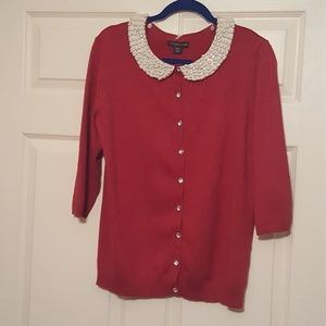 Covington Red with Pearl Collar Sweater